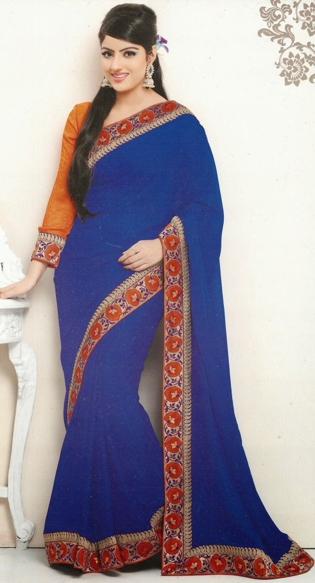 Alluring Royal Blue Embroidered #Saree