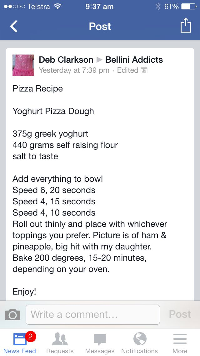 Yoghurt pizza dough
