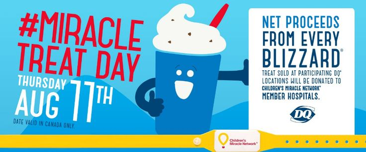 Today is Miracle Treat Day at Dairy Queen! We are big supporters of the Children's Miracle Network and net proceeds from Blizzard sales today are donated to the BC Children's Hospital Foundation. So come out, buy a Blizzard and show your support for kids in our community! #DQ #MiracleTreatDay #VernonBC