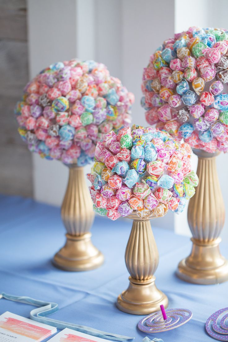 Lollipop Bouquets on Gold Candle Stands                                                                                                                                                                                 More