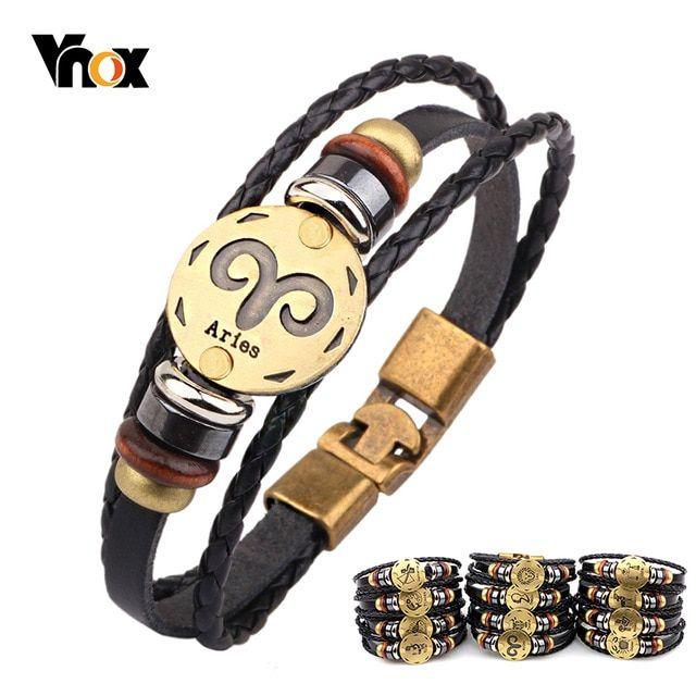 Mens Womens Punk Multi-Layer 12 Zodiac Signs Constellation Astrology Braided Leather Cuff Bracelet,Black