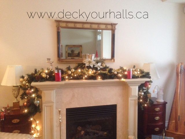 Traditional Christmas Fireplace Mantel Decorating homes and biz for the Holidays in Toronto.  www.deckyourhalls.ca