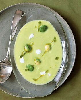 Cold Avocado Corn Soup with Cilantro Oil Photo  at Epicurious.com
