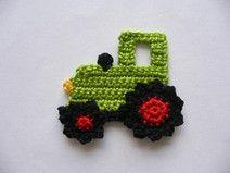 Traktor (klein)  - Häkelapplikation