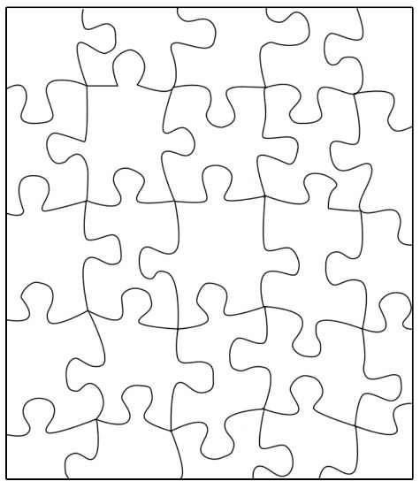 "Puzzle template: Transfer this puzzle to a large poster, write a message on the back and cut out each piece in advance of this icebreaker activity. Instruct students to write their name, write one goal and color the piece as you hand them out. Idea from scholastic.com; Ellaine Barthelemy, a teacher in Apple Valley, Minnesota, is quoted ""...share... then reassemble the puzzle to symbolize the importance of each individual's contribution to the class."