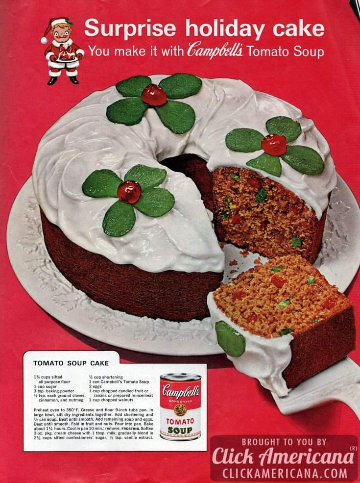 Surprise holiday cake! You make it with Campbell's tomato soup Tomato soup cake/fruitcake recipe Ingredients 1-3/4 cups all purpose flour 1 cup sugar 3 teaspoons baking powder 1/2 teaspoon each: ground cloves, cinnamon and nutmeg 1/2 cup shortening 1 can Campbell's Tomato Soup 2 eggs 1 cup chopped candied fruit, or raisins, or prepared mincemeat 1 cup …