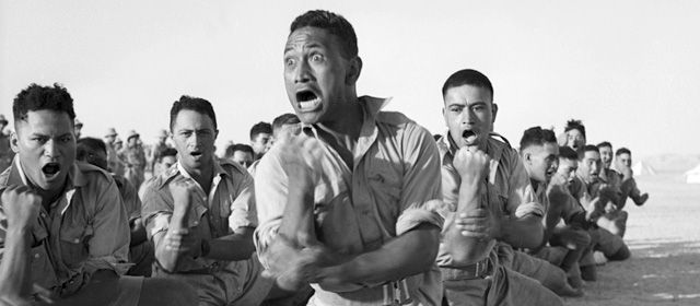 Members of the 28th (Māori) Battalion performing a haka in Egypt, 1941
