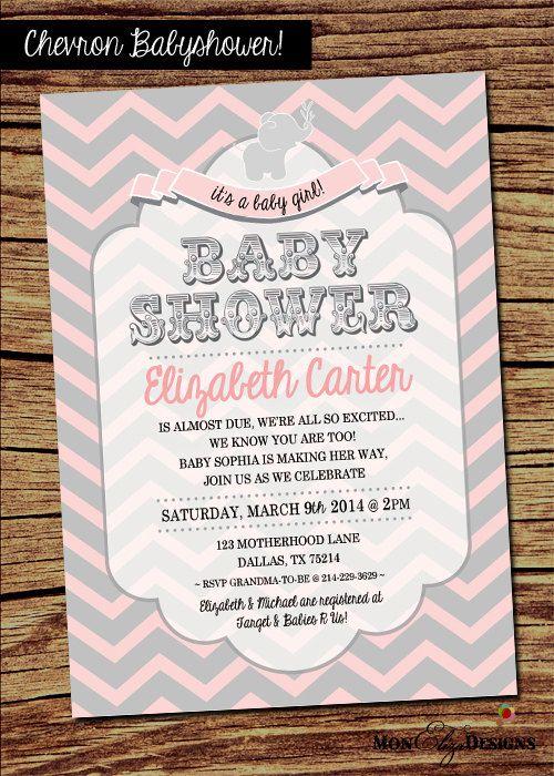pink gray chevron theme baby shower invitation on etsy