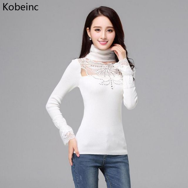 Kobeinc Autumn Slim Knitted Sweater Woman Pull Femme Sexy Butterfly Lace Patchwork Turtleneck Pullover Long Sleeve Sueter Mujer