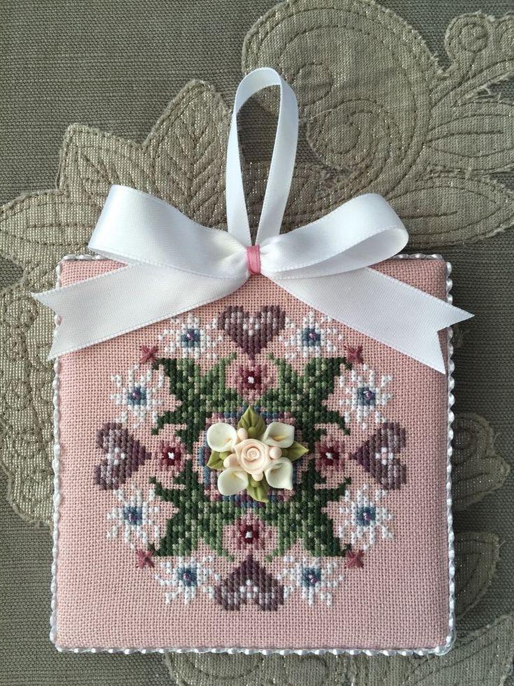 Finished Cross Stitch Ornament Just Nan Porcelain Nosegay Valentine Hearts | eBay