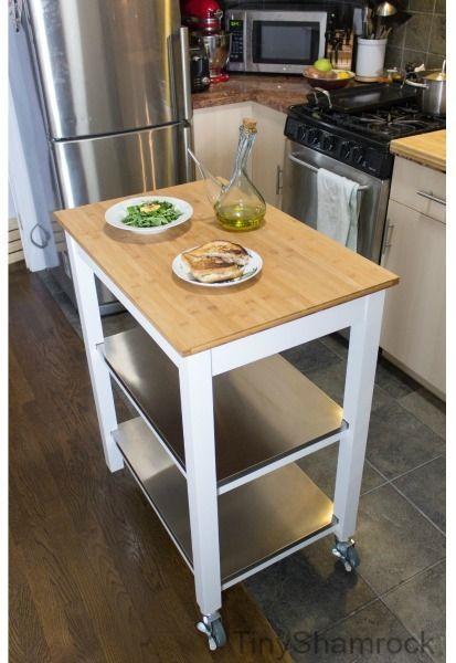 Kitchen Island Cart Table Butcher Block 3tier Shelf Stainless