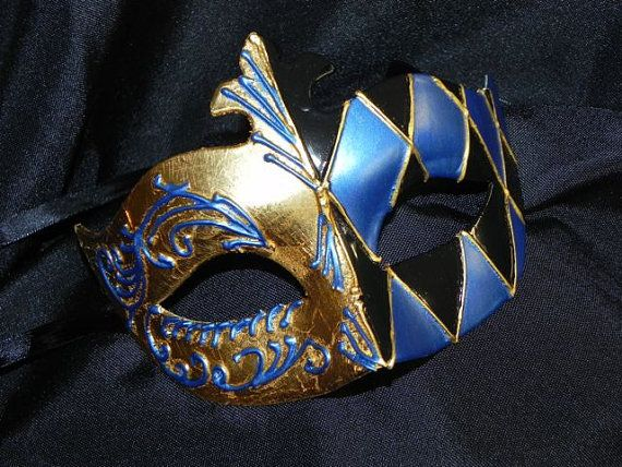 Harlequin Mask in Black Blue and Gold by TheCraftyChemist07, $38.99