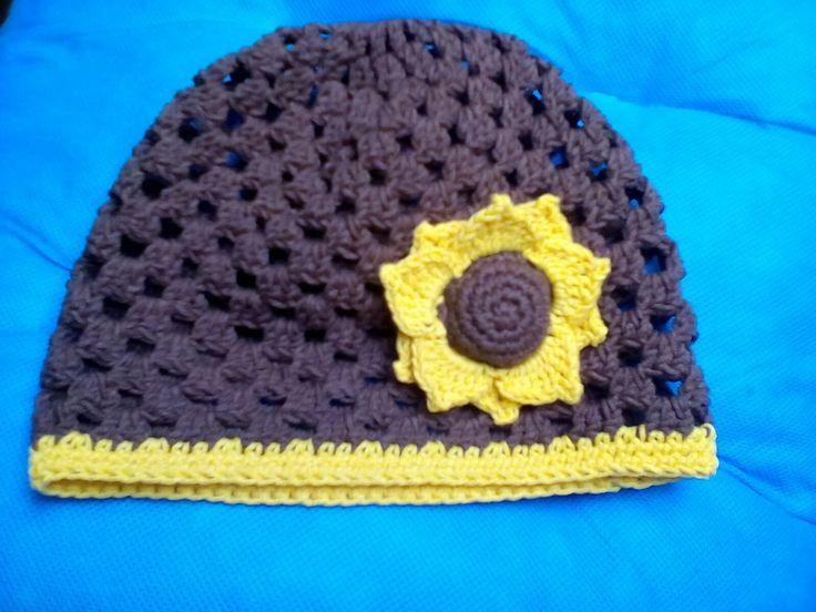 Crochet hat sunflower Háčkovaná čepice se slunečnici 🌻