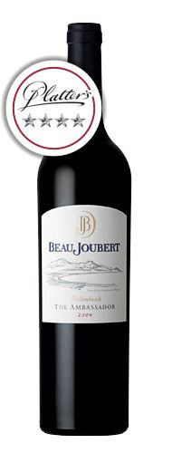 Beau Joubert Ambassador 2009  Merlot driven - 80% Beau Joubert is a picturesque wine estate situated in the Polkadraai Hills along the Stellenbosch Wine Route. Steeped in history, Beau Joubert's winemaking practices date back to 1695 when Governor of the Cape, Simon van der Stel, allocated this remarkable land, titled then as Veelverjaagt, to a Coenraed Visser.