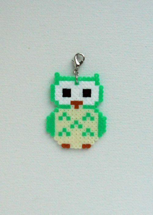 Hama mini unique Owl pendant charm by Alsterbead on Etsy