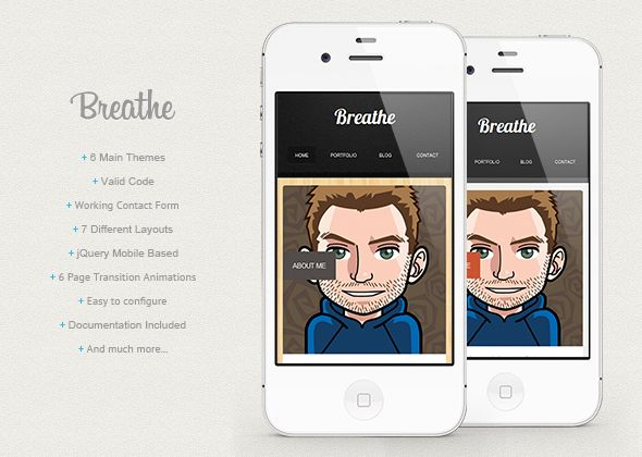 Site Templates - Breathe - HTML5 jQuery Mobile Based Template | ThemeForest