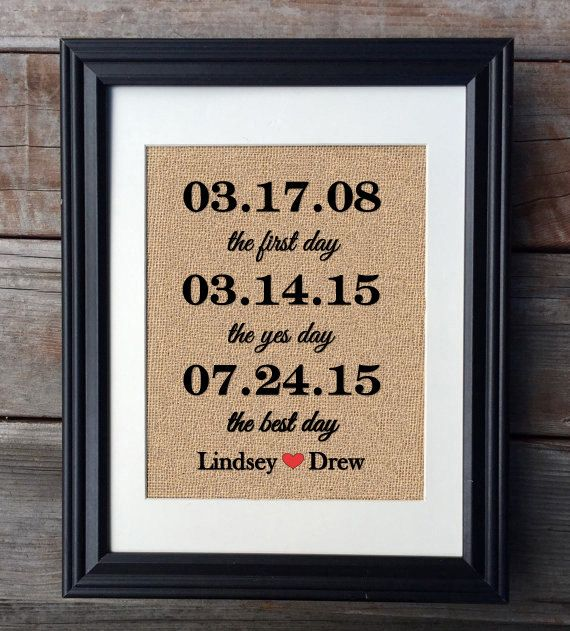 The First Day, The Yes Day, The Best Day Burlap Print, Wedding Gift, Anniversary Gift, Newlywed Print, Bridal Gift