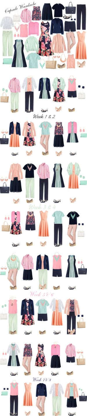 Hot Weather Capsule Wardrobe: Mint, Navy, Pink & Peach by kristin727 on Polyvore featuring J.Crew, Boden, Lands' End, Miu Miu, L.L.Bean, Michael Kors, Kate Spade, Kendra Scott, Amrita Singh and Cole Haan