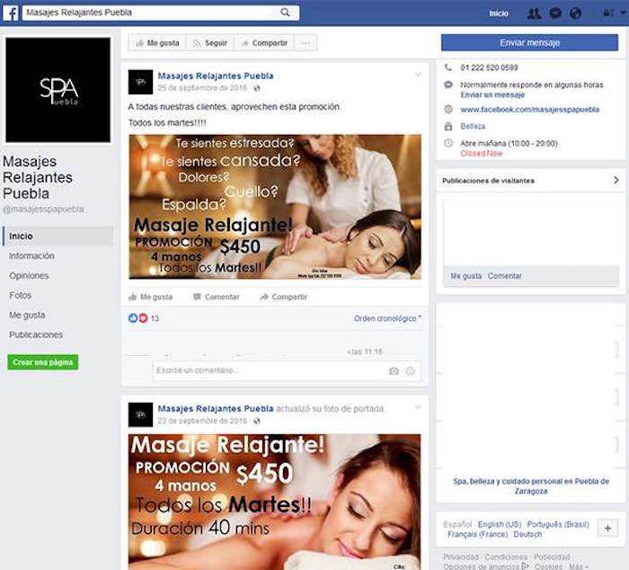 """Los locales """"Spa Puebla y """"Serenity"""" se promocionan en redes sociales como spa y masajes son en realidad fachadas de una compleja red de trata de personas."""