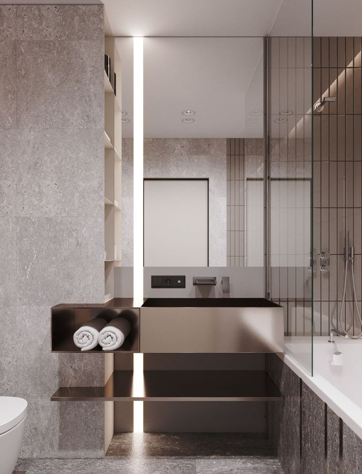 Apartment in onyx colours #minimalistbathroom