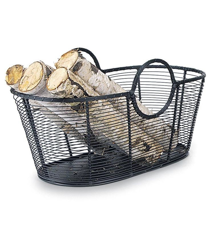 Small Steel Wire Log Basket go w/ a wrought iron look?