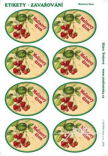 Samolepicí etikety, zavařování, malinový džem