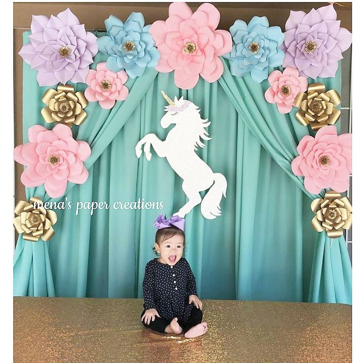"""241 Likes, 10 Comments - Jimena Sanchez (@menaspaper_creations) on Instagram: """"How cute unicorn by @craftmamapartydecor #menaspapercreations #lovewhatido #wallart #paperflowers…"""""""