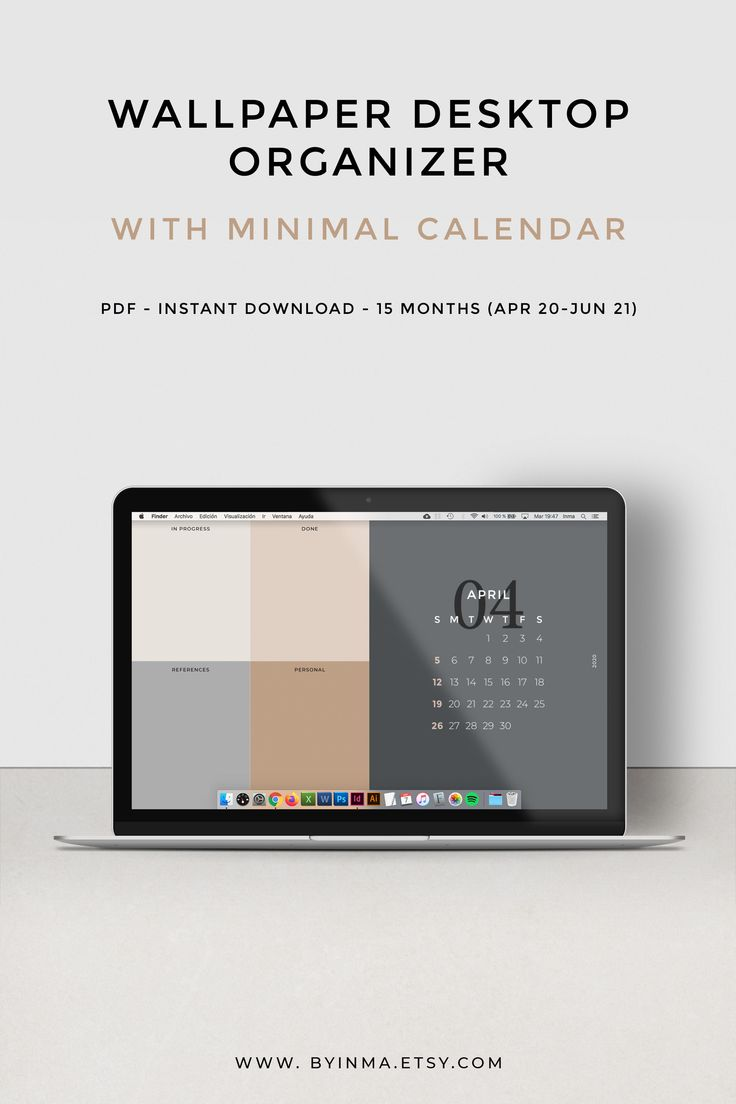 Desktop wallpaper calendar organizer Minimalist calendar ...