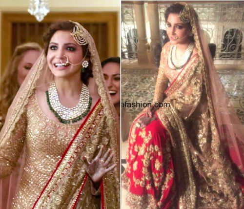 Anushka Sharma's wedding look in a red and gold lehengas with embroidery work paired with a dull gold long shirt and beautiful Kundan and emerald bridal jewellery and jhoomar by manish Manish Malhotra for Ae dil hai mushkil | Bollywood fashion | Wedding Lehengas | bollywood lehenga | designer lehenga