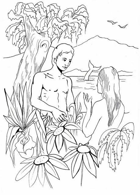 Laminas de La Biblia Para Colorear ,Imprimir y Recortar.: Adán Y Eva ...