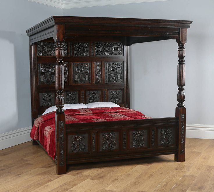 Tudor Style Carved Super King Oak Full Tester Four Poster Bed (6ft Wide) by YolaGrayAntiques on Etsy https://www.etsy.com/listing/517583130/tudor-style-carved-super-king-oak-full