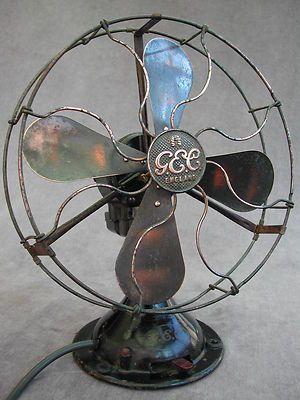 VINTAGE Art Deco GEC ELECTRIC TABLE DESK FAN brass blades 2 speed oscillating
