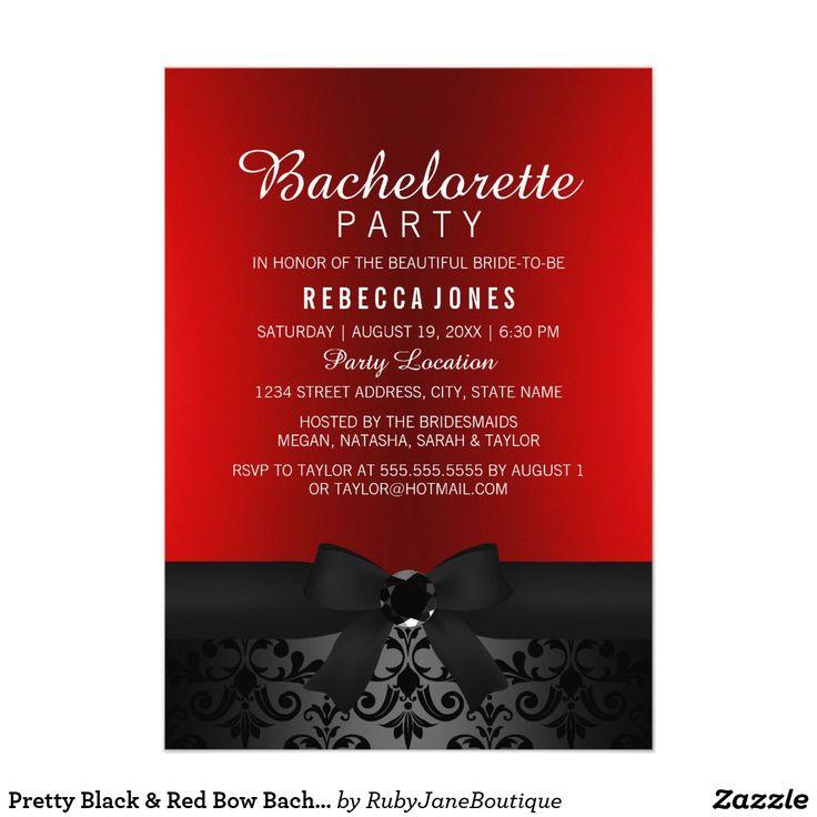 zazzle wedding invitations promo code%0A Pretty Black  u     Red Bow Bachelorette Party Invite