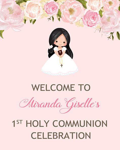 Primera comunión Bienvenido signo signo de puerta de
