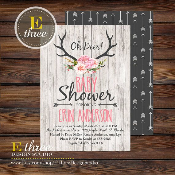 Rustic Antlers Baby Girl Shower Invitation by EThreeDesignStudio