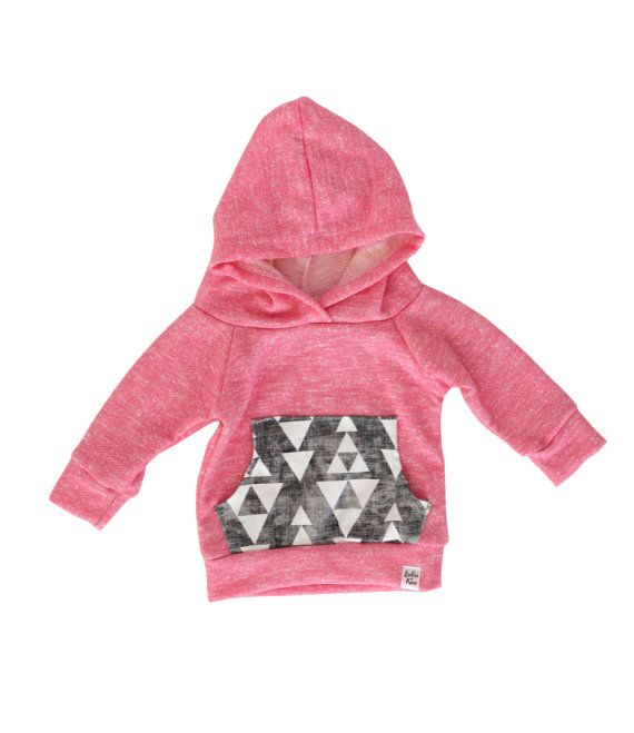 pink baby hoodie pink and grey hoodie baby girl by ShopLuluandRoo