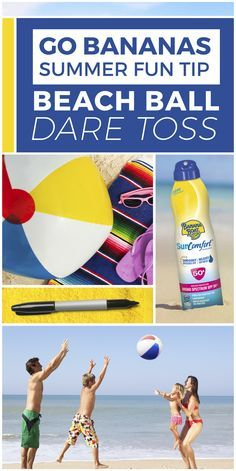 Here's a simple, fun game of silly challenges that will have your family cracking up! 1) Grab a beach ball and a permanent marker. 2) Make sure everyone is protected with Banana Boat® Sunscreen. 3) Have an adult write funny dares on the ball (dance like a chicken; sing a song; make a funny face, etc.). 4) Pass the ball and make whoever catches it do the challenge facing them. Who knew your family was so funny?