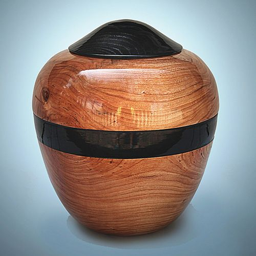 Hand Turned Cherry Wood Cremation Urn