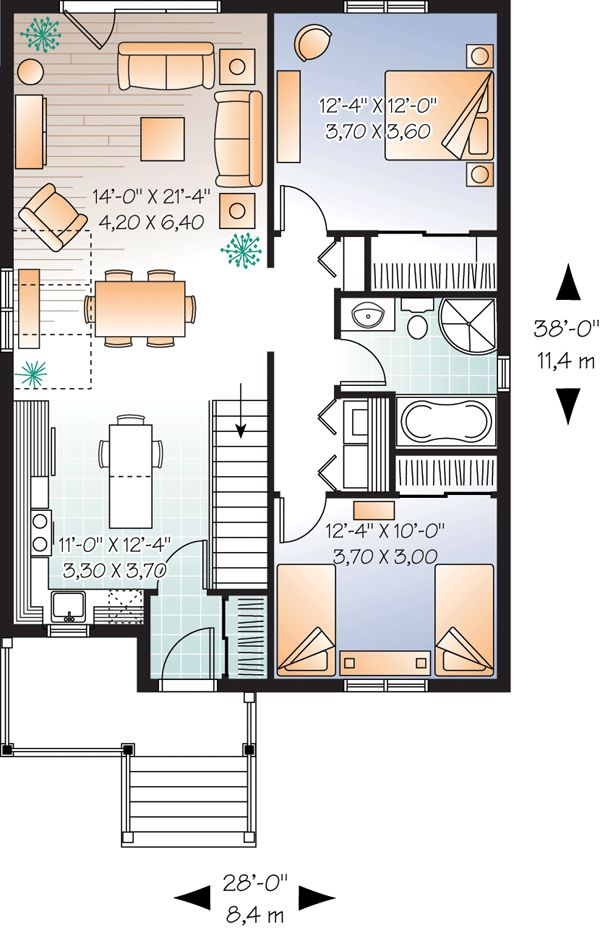 First Floor Plan Of House Plan 76185
