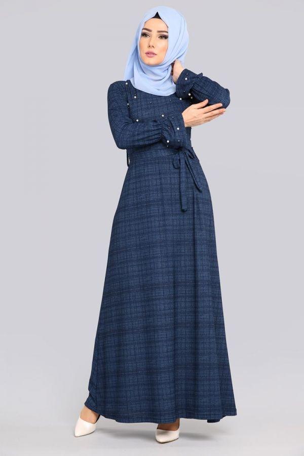 ** YENİ ÜRÜN ** İncili Tesettür Elbise İndigo Ürün kodu: BH6003 --> 59.90 TL