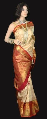 Beige Color Kanjeevaram Silk Bridal and Ceremony Saree with Zari Red Border and Pallu