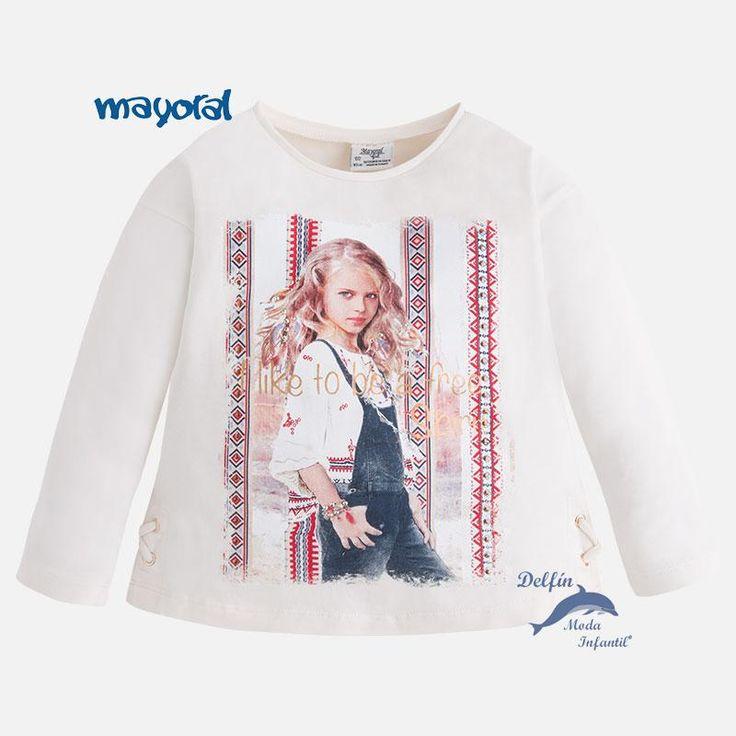 Camiseta de niña manga larga de MAYORAL estampación niña