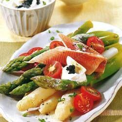 Smoked trout, asparagus and tomato salad