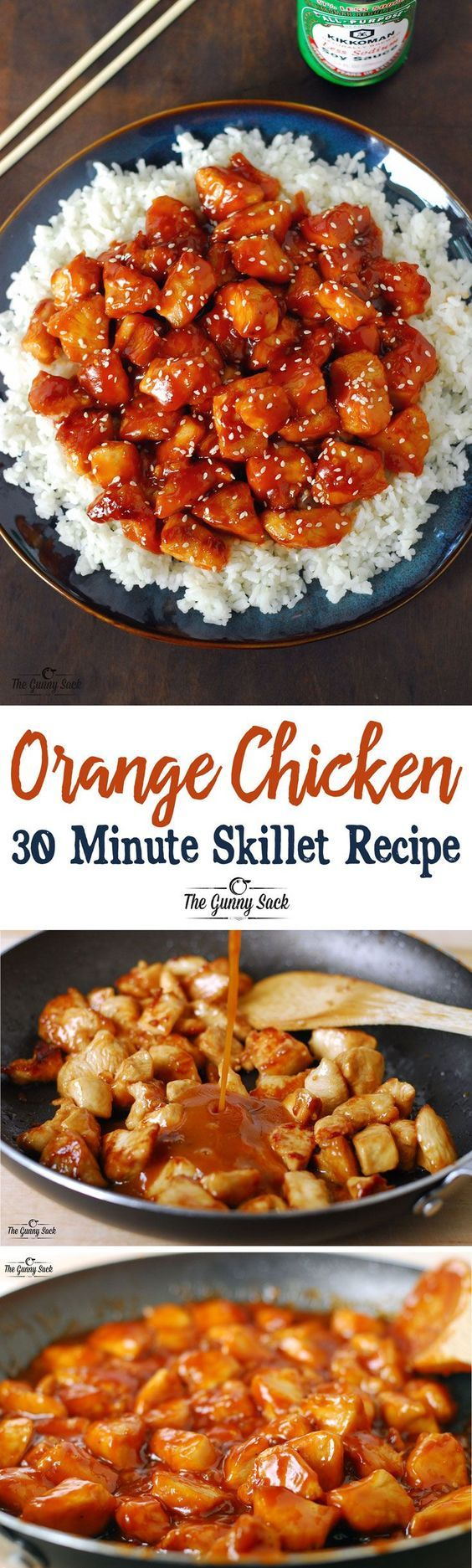Orange Chicken 30 Minute Skillet Recipe via The Gunny Sack - An easy dinner idea that is family friendly! Homemade is always better than takeout! - The BEST 30 Minute Meals Recipes - Easy, Quick and Delicious Family Friendly Lunch and Dinner Ideas #30minutemeals #30minutedinners #thirtyminutedinners #30minuterecipes #fastrecipes #easyrecipes #quickrecipes #mealprep #simplefamilymeals #simplefamilyrecipes #simplerecipes