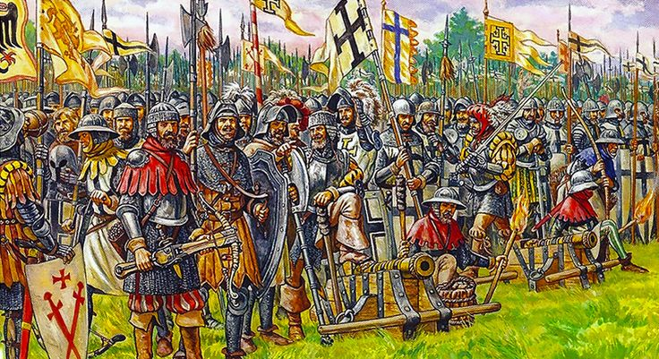 """The Battle of Grunwald, First Battle of Tannenberg or Battle of Žalgiris, 15 July 1410 - The forces of the Teutonic Knights before the battle"""