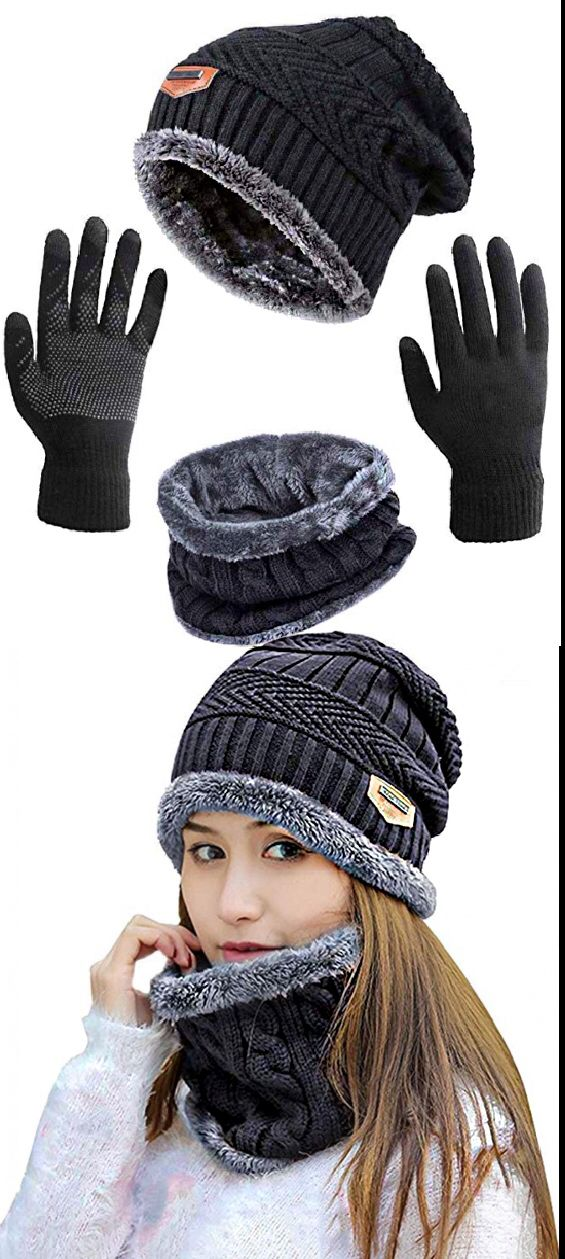 f9ef6c6b3 winter Slouchy Beanie Gloves for Women Knit Hats Skull Caps Touch Screen