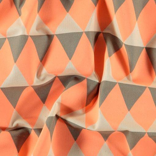 Bomull ubleket/koral/grå trekanter
