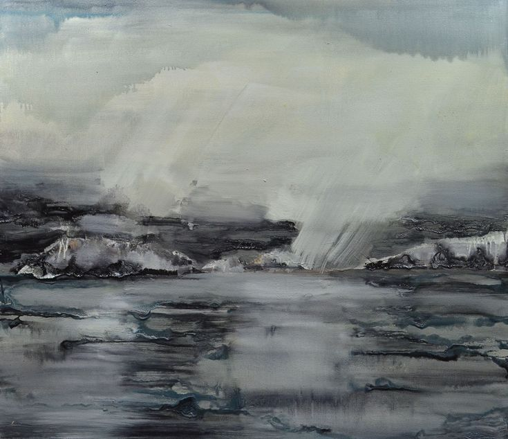 Grayscape with Lights.  Oil on canvas. 42 x 48 inches.  Original oil painting of ocean, islands and sky.