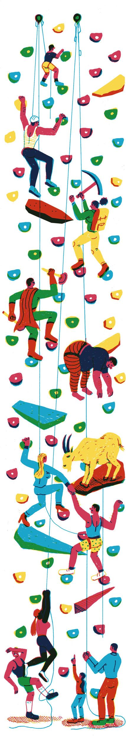 Thanks to the debut of modern climbing gyms, rock climbing has developed into a mature sport for adult athletes. Daniel Duane's Op-Ed explains the trendy rise of grown-ups climbing walls. (Illustration: Brecht Vandenbroucke)