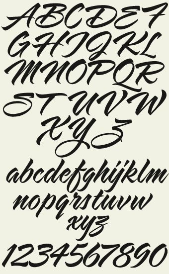 Great for all forms of advertising where a brush script is needed. Includes 8 lower case alternate characters, numbers, full punctuation and accents.